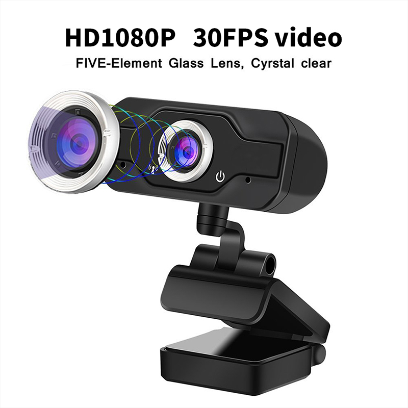 HD 1080P Webcam PC Laptop Web Camera,110 rozhraní 176; Wide-Angle s USB2.0Video Recorder Live Broadcast Camera Build-in Microphone